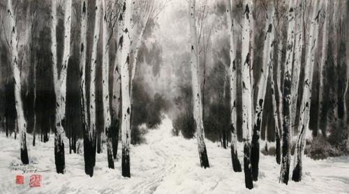 """This image provided by Choi Sang-kyun shows """"Hill of Chong Jungle"""" by North Korean painter Choe Chang-ho. (Yonhap)"""