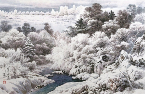 """This image provided by Choi Sang-kyun shows """"Jungheung Field Covered with Frost Flowers"""" by North Korean painter Kim Young-nam. (Yonhap)"""