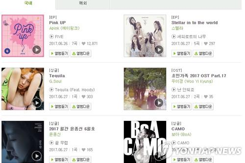 This screenshot from Melon.com on June 27, 2017, shows a catalog of the latest K-pop releases. A majority of new major works were either EP albums or digital singles. (Yonhap)