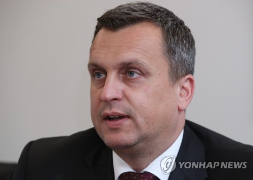 Andrej Danko, the speaker of the National Council of the Slovak Republic, speaks during an interview with Yonhap News Agency at a Seoul hotel on June 27, 2017. (Yonhap)