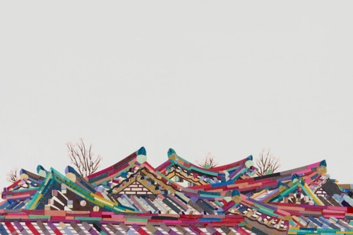 "This image provided by artist Je Mi-young shows ""Kiwa House in Coming Spring."" Kiwa means roof tiles in Korean. (Yonhap)"