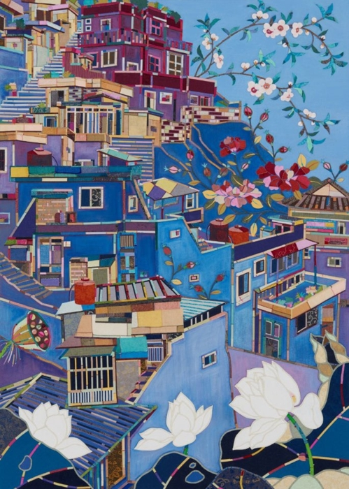 "This image provided by artist Je Mi-young shows ""Kahwa (House and Flower)"" created in 2017. (Yonhap)"
