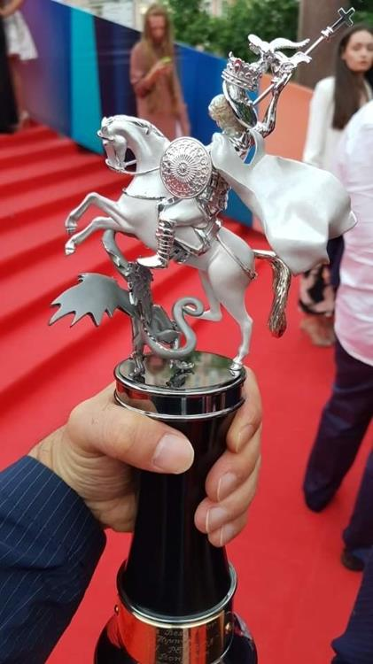This photo provided by actor Son Hyun-ju shows the Best Actor trophy from the Moscow International Film Festival on June 29, 2017. (Yonhap)