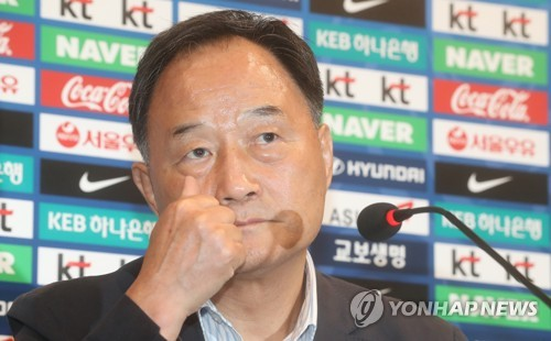 Kim Ho-gon the Korea Football Association's technical director speaks during a press conferene at the National Football Center in Paju north of Seoul