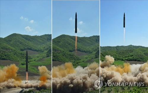 North Korea fires what it claims to be an intercontinental ballistic missile on July 4, 2017. (For Use Only in the Republic of Korea. No Redistribution) (KCNA-Yonhap) [