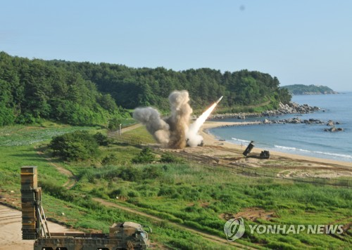 South Korean and U.S. troops hold a joint missile exercise along the east coast of the Korean Peninsula on July 5, 2017, in this photo provided by the South's military. (Yonhap)