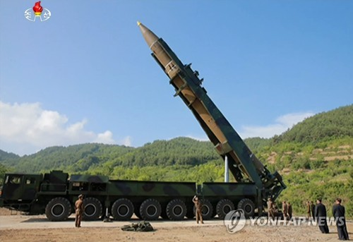 This photo taken from (North) Korean Central TV on July 4, 2017, shows a Hwasong-14 ICBM that Pyongyang claims has been successfully tested. (For Use Only in the Republic of Korea. No Redistribution) (Yonhap)
