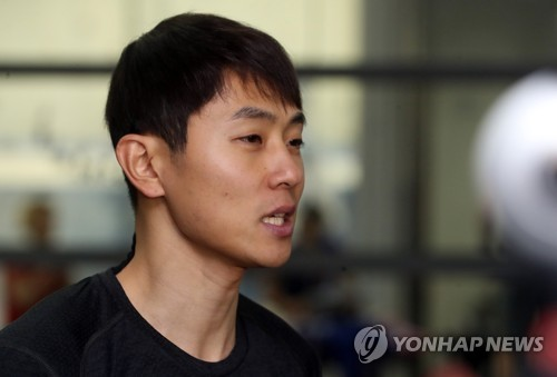 Victor An, Russian short track speed skater born Ahn Hyun-soo in South Korea, speaks with reporters after practice at Seoul's Korea National Sport University on July 17, 2017. (Yonhap)