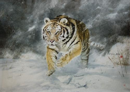 "This image provided by BG Muhn shows Kim Chol's ""Tiger Dashing in Winter."" (Yonhap)"