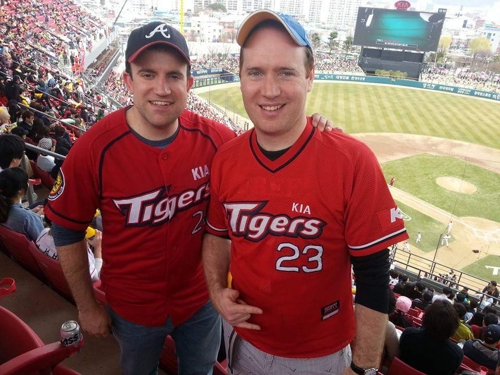 Brian Richards (L) and Andrew Farrell pose for a picture during a Korea Baseball Organization game at Gwangju-Kia Champions Field in Gwangju, in this undated photo provided by Farrell. (Yonhap)