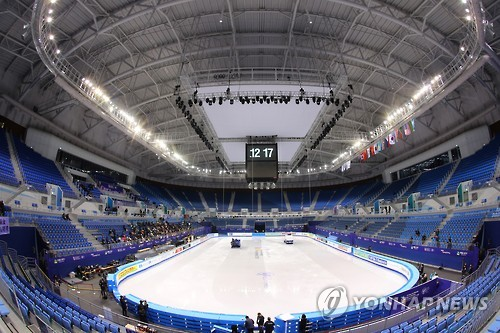 This file photo, taken on Feb. 14, 2017, shows the inside of Gangneung Ice Arena, the venue for figure skating events at the 2018 PyeongChang Winter Olympics, in Gangneung, Gangwon Province. (Yonhap)