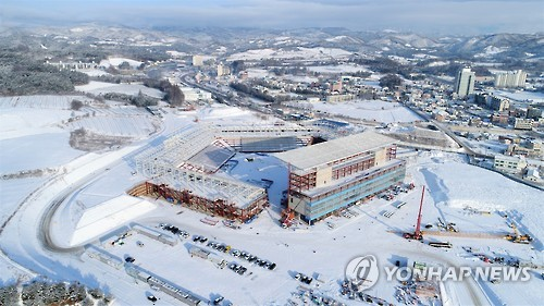 This photo, provided by the 2018 PyeongChang Winter Olympics organizing committee on Feb. 10, 2017, shows PyeongChang Olympic Stadium, the venue for the opening and closing ceremonies for the 2018 PyeongChang Winter Olympics, under construction in PyeongChang, Gangwon Province. (Yonhap)