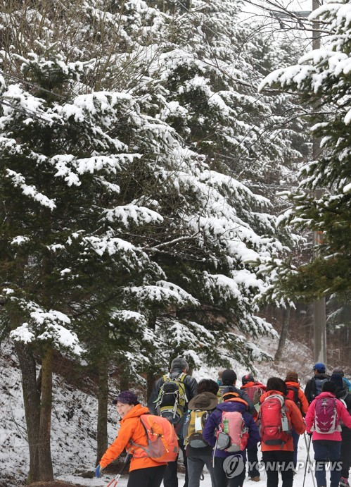 Hikers climb a snow-covered mountain in PyeongChang, some 180 kilometers east of Seoul, on April 1, 2017. (Yonhap)