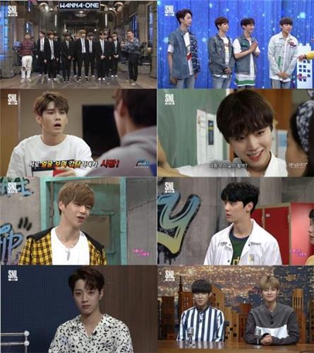 """This composite image shows highlights from the Aug. 12, 2017, broadcast of """"SNL Korea"""" featuring members of boy band Wanna One. (Yonhap)"""