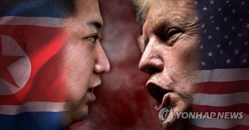This image shows North Korean leader Kim Jong-un (L) and U.S. President Donald Trump. (Yonhap)