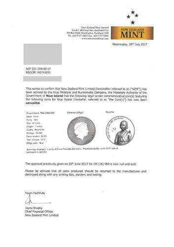 This document,issued by New Zealand Mint Limited on July 26, 2017, shows the Niue Philatelic & Numismatic Bureau decided to cancel the issuance of the commemorative coin on comfort women. (Yonhap)
