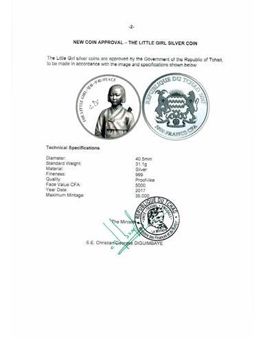 This document, provided by CoinStore, shows the Republc of Chad approved the issuance of the commemorative coin on comfort women. (Yonhap)