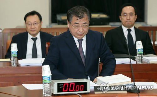 National Intelligence Service Director Suh Hoon attends a parliamentary session at the National Assembly in Seoul on Aug. 28, 2017. (Yonhap)