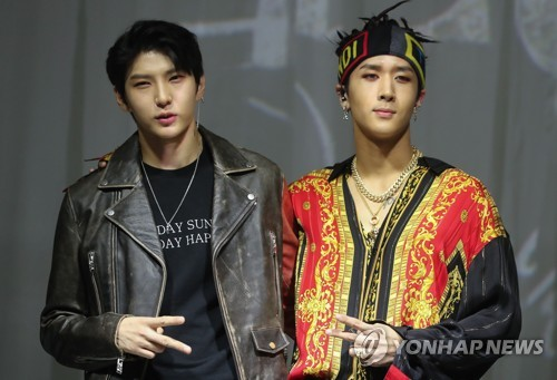 South Korean Boy Group VIXX LR Poses For The Camera During A Showcase Its Second