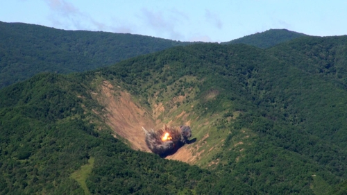 A bomb hits a mock target at the Pilseung Range in Gangwon Province during a live-fire drill by South Korea's F-15K fighter jets on Aug. 29, 2017 in this photo provided by the Air Force. (Yonhap)