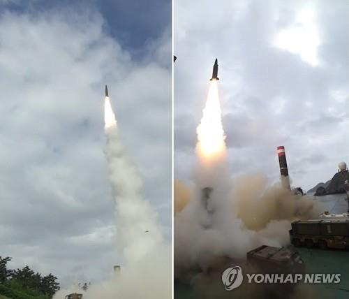 South Korea's ballistic missiles are fired in recent tests in this photo provided by the Agency for Defense Development. (Yonhap)