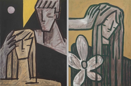 These images provided by Kim Hee-soo on Aug. 28, 2017, show his untitled paintings. (Yonhap)