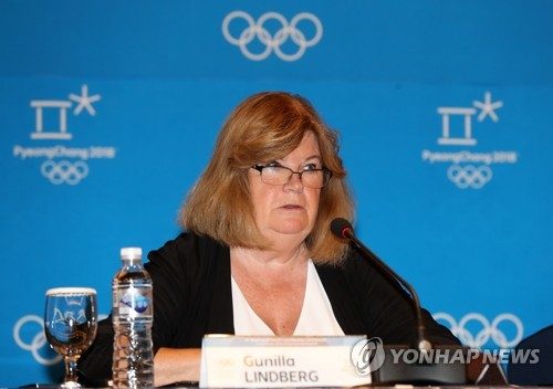 Gunilla Lindberg, head of the International Olympic Committee's Coordination Commission on PyeongChang 2018, speaks at a press conference at Alpensia Convention Centre in PyeongChang, Gangwon Province, on Aug. 31, 2017. (Yonhap)