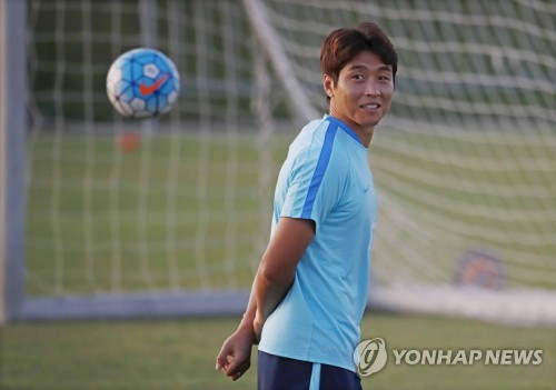 South Korean forward Lee Dong-gook practices in Tashkent Uzbekistan on Sept. 3 2017 two days prior to his team's World Cup qualifier against Uzbekistan