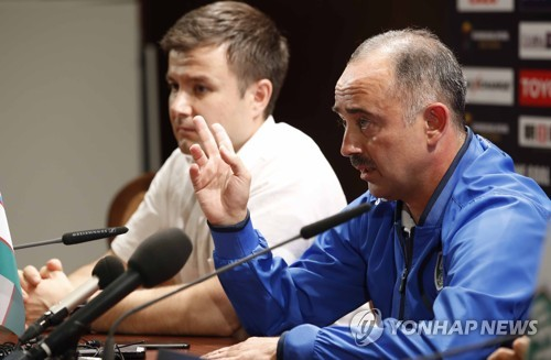 Uzbekistan's national football team coach Samvel Babayan speaks during a press conference at Bunyodkor Stadium in Tashkent on Sept. 4 2017 one day ahead of the 2018 FIFA World Cup qualifying match between South Korea and Uzbekistan