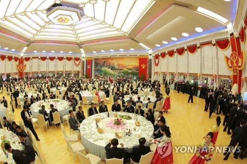 This file photo, released by the Korean Central News Agency on Sept. 10, 2017, shows a banquet held for the North Korean scientists and ranking officials in celebration of its latest nuclear test. (For Use Only in the Republic of Korea. No Redistribution) (Yonhap)