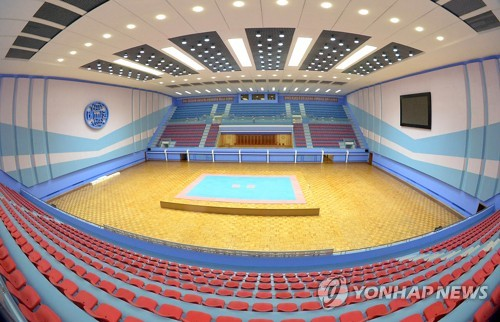 This photo carried by North Korea's news agency KCNA on Aug. 21, 2017, shows the Taekwondo Hall, whose remodeling North Korea has recently completed. (For Use Only in the Republic of Korea. No Redistribution) (Yonhap)