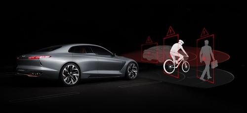 This image provided by Hyundai Motor shows how the sensor fusion technology works to detect a bicycle on the road ahead. (Yonhap)