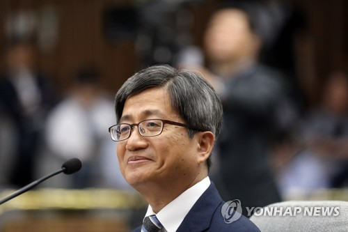 Supreme Court Chief nominee Kim Meong-su attends a parliamentary confirmation hearing at the National Assembly on Sept. 12, 2017. (Yonhap)