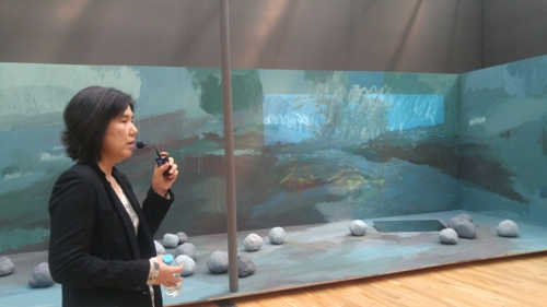 Artist Sunny Kim talks during a media preview for the Korea Artist Prize 2017 at the Seoul venue of the National Museum of Modern and Contemporary Art on Sept. 12, 2017. (MMCA).