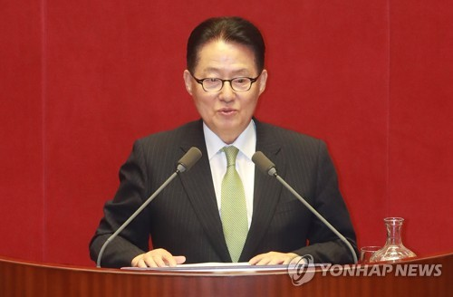 This photo, taken Sept. 12, 2017, shows Rep. Park Jie-won of the minor opposition People's Party, speaking during a parliamentary interpellation session at the National Assembly in Seoul.
