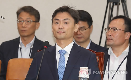 This photo, taken Sept. 11, 2017, shows SMEs and Startups Minister nominee Park Seong-jin attending a parliamentary confirmation hearing at the National Assembly in Seoul. (Yonhap)