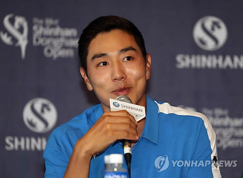 South Korean golfer Bae Sang-moon speaks during a press conference for Shinhan Donghae Open at Bear's Best Cheongna Golf Club in Incheon on Sept. 13, 2017. (Yonhap)