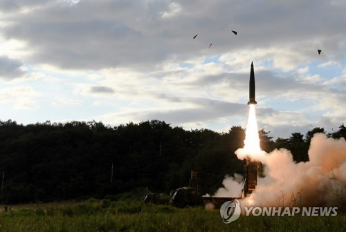 South Korea's military fires a Hyunmoo-2 ballistic missile into the East Sea on Sept. 15, 2017, in response to North Korea's missile launch in this photo provided by the Army. (Yonhap)