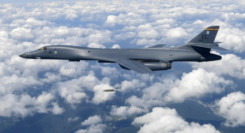 The U.S. Air Force's B-1B strategic bomber drops an MK-84 bomb during an exercise in the sky of Korea on Sept. 18, 2017 in this photo provided by South Korea's Air Force. (Yonhap)
