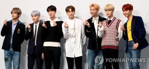 The K-pop band BTS poses for the camera during a press conference at Lotte Hotel in central Seoul on Sept. 18, 2017. (Yonhap)
