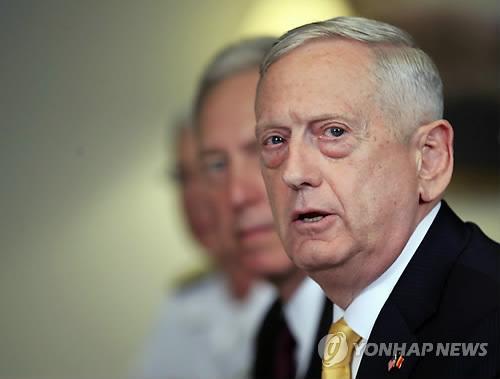 This AP file photo shows U.S. Defense Secretary Jim Mattis. (Yonhap)