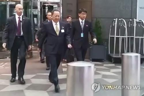 North Korean Foreign Minister Ri Yong-ho leaves his hotel in New York on Sept. 21 2017