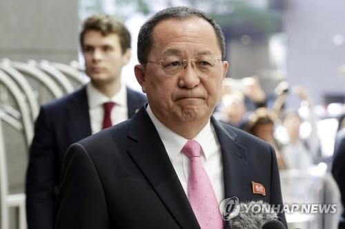 This AP photo shows North Korean Foreign Minister Ri Yong-ho in front of his New York hotel on Sept. 25, 2017. (Yonhap)