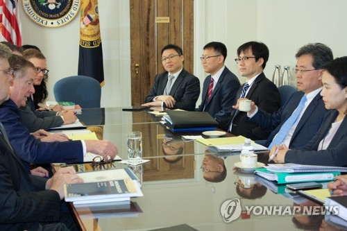 This photo, provided by South Korea's Ministry of Trade, Industry and Energy, shows trade negotiators from South Korea and the United States holding a second round of talks on their bilateral free trade agreement at the U.S. Trade Representative's building in Washington on Oct. 4, 2017. (Yonhap)
