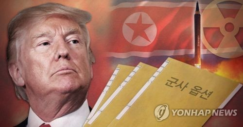 A combined image of U.S. President Donald Trump and North Korea's national flag