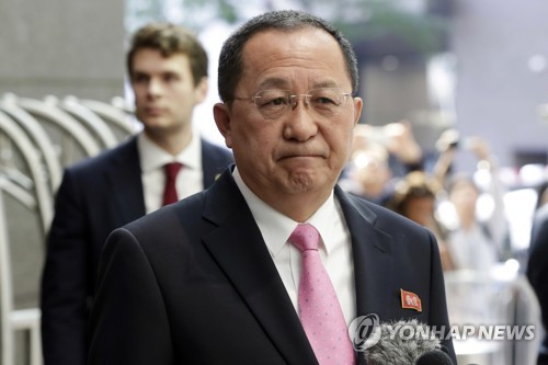 This photo carried by The Associated Press on Sept. 25, 2017, shows North Korean Foreign Minister Ri Yong-ho speaking to reporters outside his hotel in New York, where he attended the U.N. General Assembly meeting. (Yonhap)