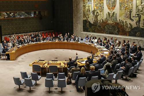 In this photo released by AFP news service, diplomats attend an emergency U.N. Security Council in New York on Sept. 11, 2017. The council unanimously adopted a new sanctions resolution to impose the first restrictions on exports of crude oil and petroleum products to North Korea as punishment for its sixth and largest nuclear test. (Yonhap)