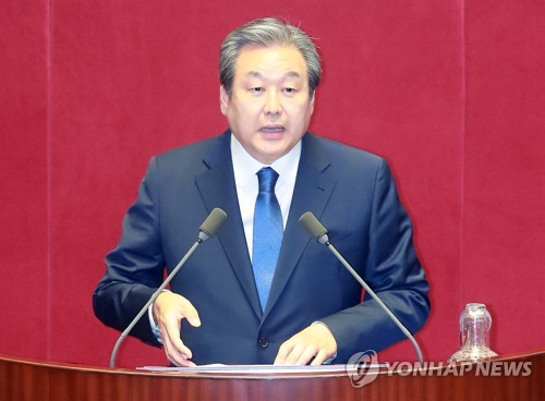 This photo, taken Sept. 11, 2017, shows Rep. Kim Moo-sung of the minor opposition Bareun Party, speaking during a parliamentary session at the National Assembly in Seoul. (Yonhap)