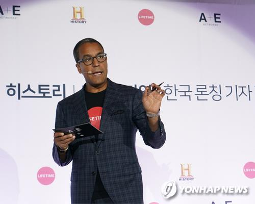 Sean Cohan, president of A+E Networks' International and Digital Media, announces the launch of the group's History and Lifetime cable TV channels in Korea at the Four Seasons hotel in central Seoul on Oct. 12, 2017, in this photo provided by the company. (Yonhap)