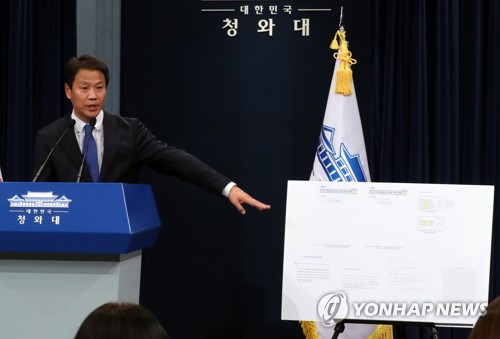 Presidential Chief of Staff Im Jong-seok shows the enlarged documents from the former Park Geun-hye administration that have allegedly been manipulated to falsify the time of the first report to Park on the Sewol ferry sinking in a press briefing held at the presidential office Cheong Wa Dae in Seoul on Oct. 12, 2017. (Yonhap)